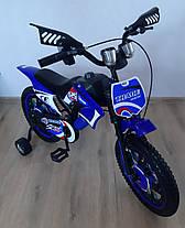 Детский велосипед Мотоцикл Trade двухколесный 12 дюймов. С дополнительными колесиками. На 2-4 года, фото 2