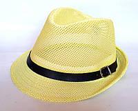 """Шляпа """"Челентанка"""", желтая сетка (54 см)"""