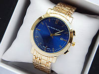 Кварцевые наручные часы Burberry золото, синий циферблат, календарь, на металлическом браслете