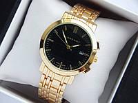 Кварцевые наручные часы Burberry золото, черный циферблат, календарь, на металлическом браслете