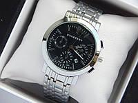 Кварцові наручні годинники Burberry срібло, чорний циферблат, хронографи, календар, фото 1