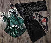 Атласный комплект халат и пижама с кружевом.