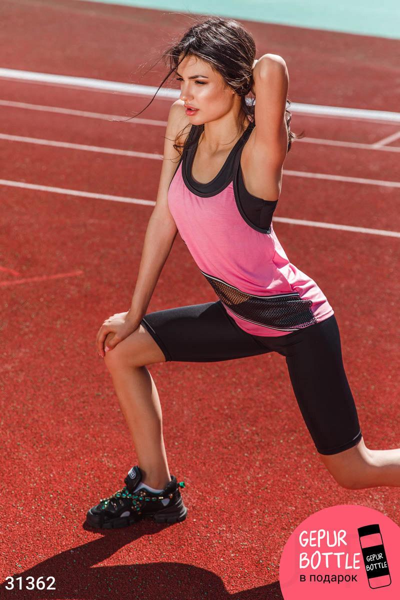 Летний спортивный костюм-тройка черно-розовый