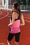 Летний спортивный костюм-тройка черно-розовый, фото 4