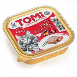 TOMi veal poultry ТЕЛЯТИНА ПТИЦА консервы для котов, паштет, 100гр