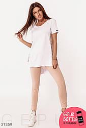 Оригінальний трикотажний спортивний костюм біло-бежевий
