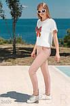 Трикотажный летний костюм розово-белый, фото 2