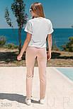 Трикотажный летний костюм розово-белый, фото 3
