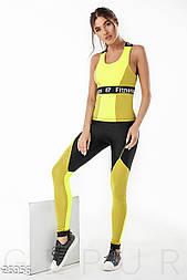 Красивый фитнес-костюм с моделирующими лосинами горчично-салатовый