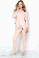Повседневный спортивный костюм с асимметричной кофтой розовый