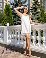 """Летний короткий шелковый сарафан с кружевом в бельевом стиле """"Имидж"""" молочного цвета"""