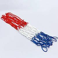 Сетка баскетбольная SPALDING  (полиэстер, 12 петель, цвет бело-красно-синий, в компл. 1шт, вес 59гр)