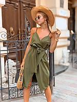 Платье женское летнее с поясом хаки сирень 42-44 46-48