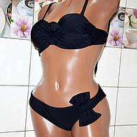Новая мода 2019! Молодежный (раз.S) черный раздельный женский купальник, двое плавок, украшение бант.
