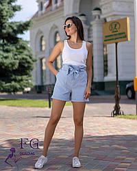 """Летние женские короткие шорты с высокой посадкой и бантом на поясе """"Monaco"""" голубые"""