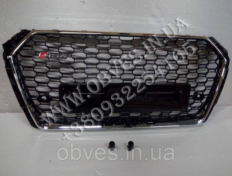 Решетка радиатора Audi A4 B9 стиль RS4 (хром окантовка с надписью Quattro)
