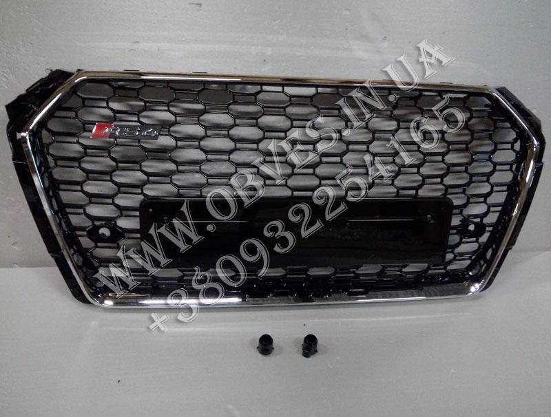 Решітка радіатора Audi A4 B9 стиль RS4 (хром окантовка з написом Quattro)