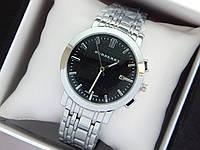 Кварцевые наручные часы Burberry серебро, черный циферблат, календарь, фото 1