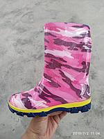 Детские резиновые сапоги оптом (23 - 26) камуфляж розовый, фото 1