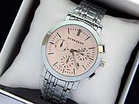 Кварцевые наручные часы Burberry серебро, розовый циферблат, хронографы, календарь, фото 1