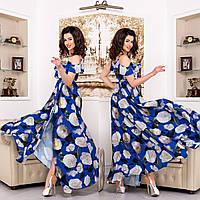 """Плаття-сарафан на запах довге з квітами """"Акапулько роуз"""""""