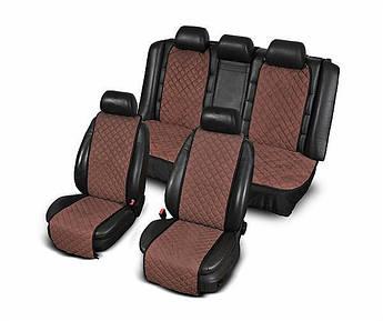 Накидки на сиденья из АЛЬКАНТАРЫ (искусственной замши) коричневые узкие комплект