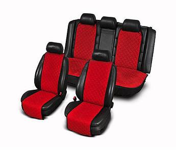 Накидки на сиденья из АЛЬКАНТАРЫ (искусственной замши) красные узкие комплект