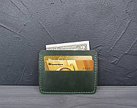 Кожаный картхолдер, мини кошелек из натуральной кожи зеленый