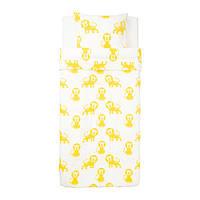 Комплект постельного белья IKEA DJUNGELSKOG 150x200 Бело-желтый (303.937.27)
