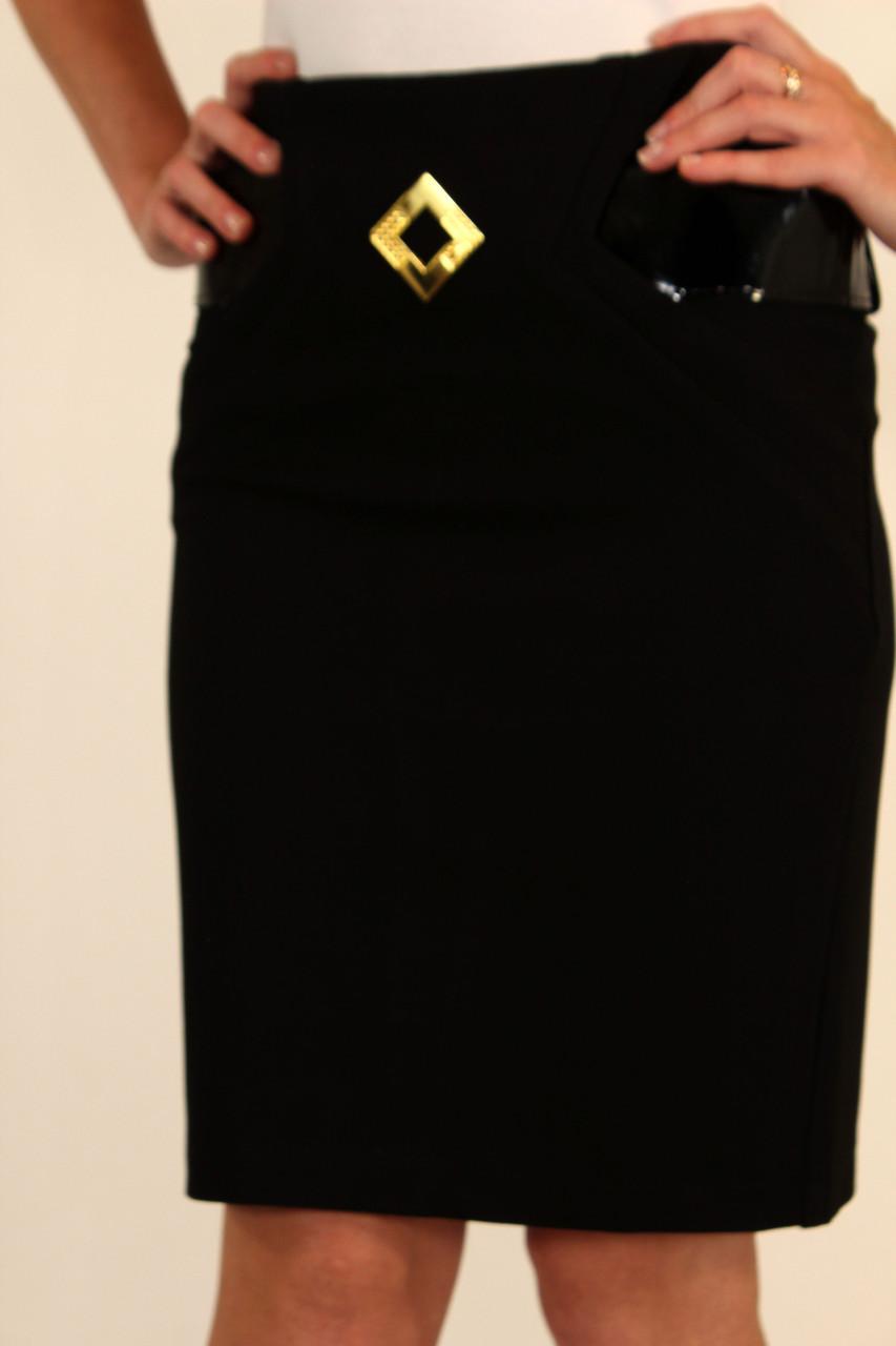 Юбка карандаш черная с широким ремнем 42-48 р