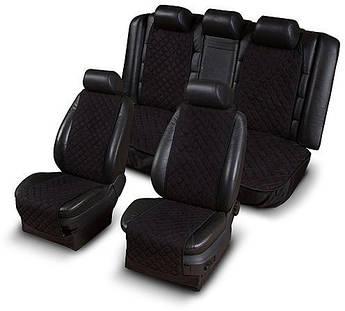 Накидки на сиденья из АЛЬКАНТАРЫ (искусственной замши) черные узкие комплект