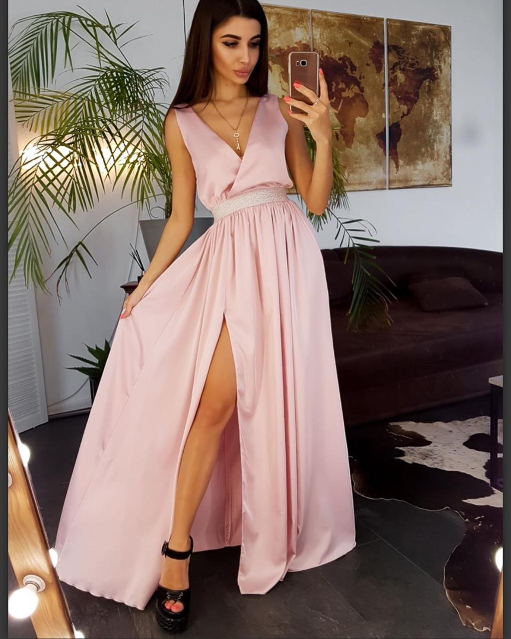 Вечернее платье в пол. Атлас и пайетки