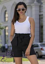 """Летние женские короткие шорты на талию с бантом и рюшами """"Monaco"""" черные"""