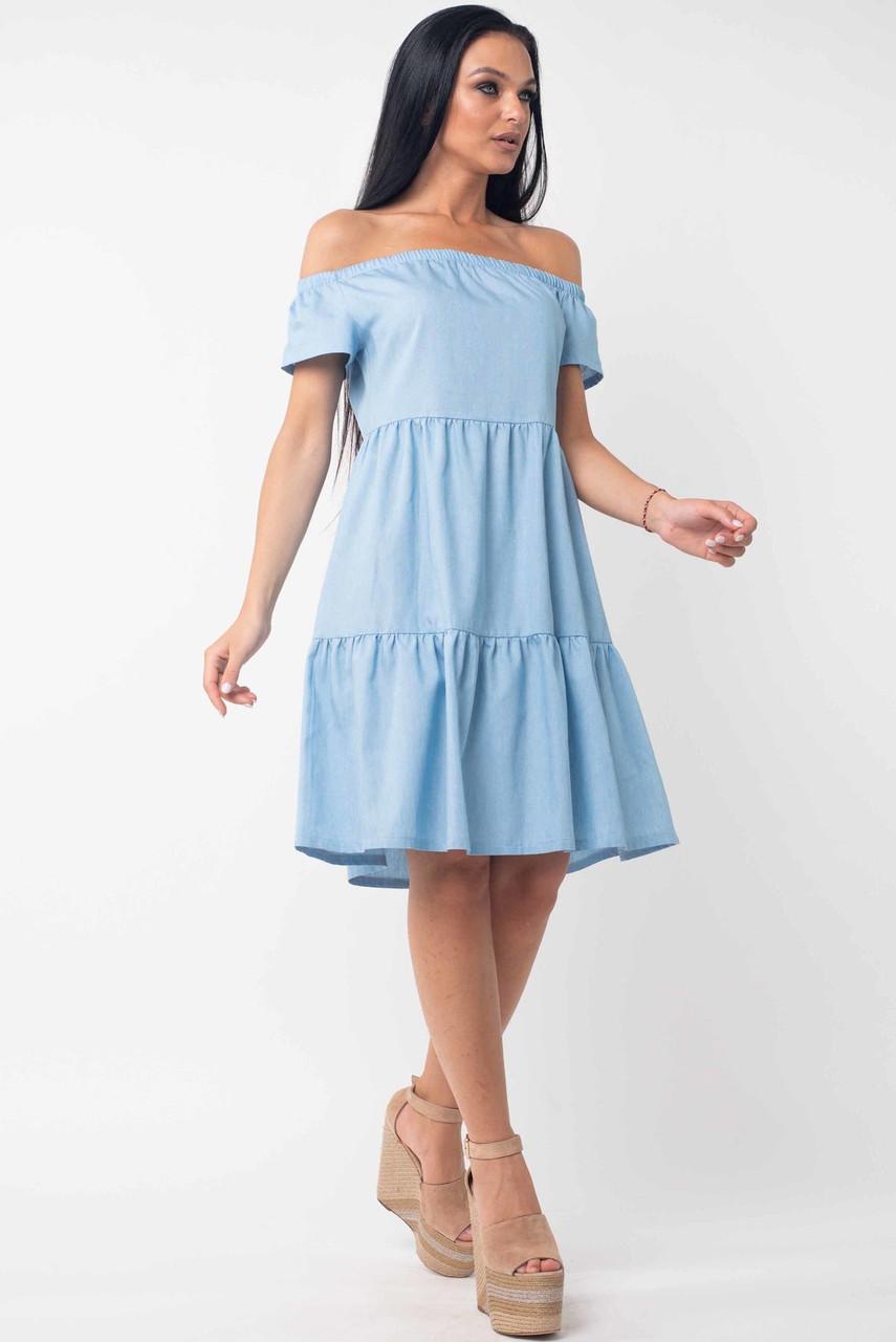 Свободное платье с открытыми плечами из легкого джинса Neili (42–52р) голубой