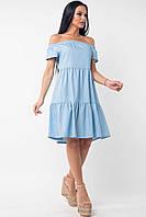 Свободное платье с открытыми плечами из легкого джинса Neili (42–52р) голубой, фото 1