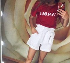 """Летние женские белые шорты на с высокой талией и бантом """"Monaco"""""""