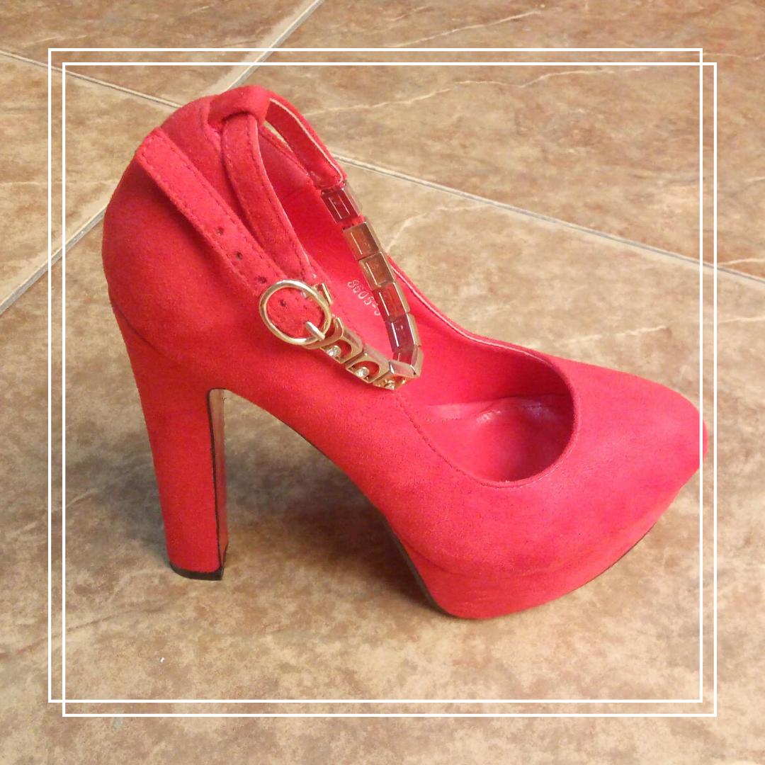 Женские туфли L@M 8605-5 красная замша, 36