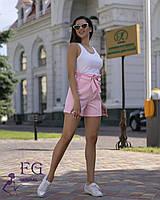 """Короткие женские летние шорты с бантом и рюшами на талии """"Monaco"""" розовые"""