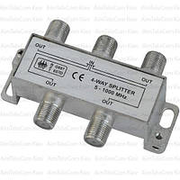 Сплиттер (Splitter) ТВ, 4-way 5-1000MHZ, корпус металлический
