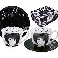 Чайный набор фарфор «Нежная» : 2 чашки на 300 мл. с блюдцами