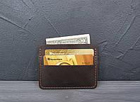 Кожаный картхолдер, мини кошелек из натуральной кожи темный шоколад