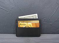 Кожаный картхолдер, мини кошелек из натуральной кожи черный