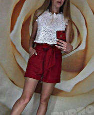 """Стильные короткие женские летние шорты с поясом-бантом и рюшами на талии """"Monaco"""" цвет мокко, фото 3"""
