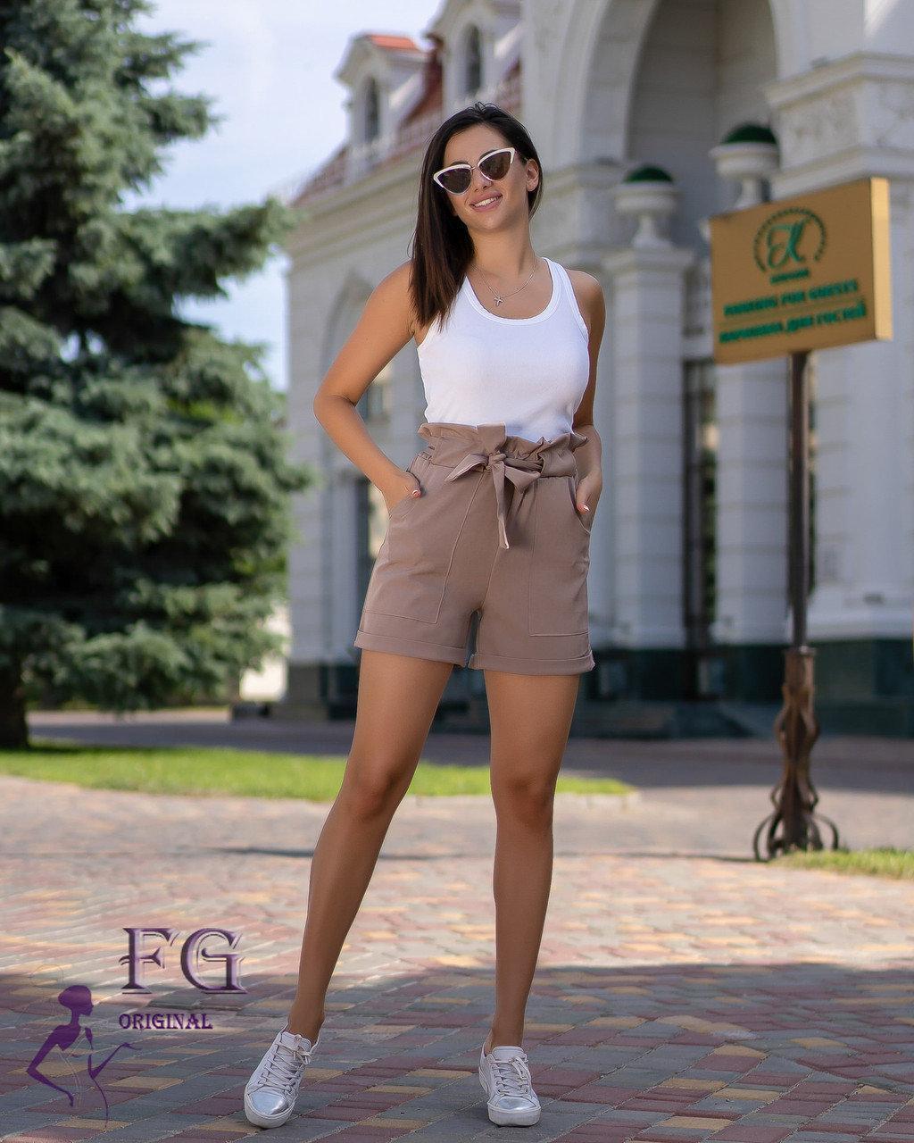 """Стильные короткие женские летние шорты с поясом-бантом и рюшами на талии """"Monaco"""" цвет мокко"""