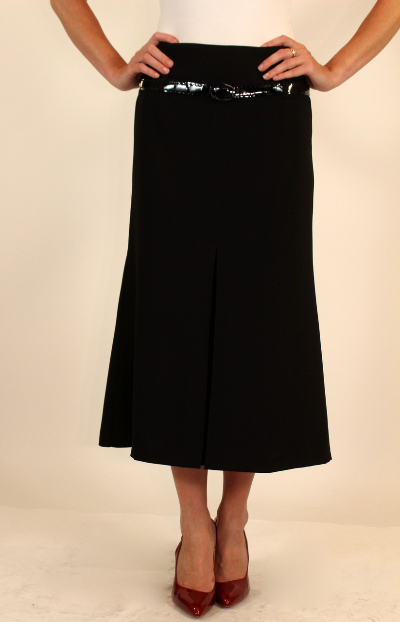 Черная юбка миди ( впереди складки ) 42-48 р