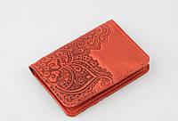 """Красная кожаная обложка для id паспорта/водительских прав, орнамент """"Цветы"""", фото 1"""