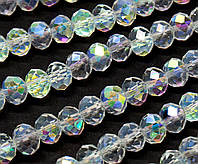 Бусины хрустальные (Рондель) 8х6мм  пачка - примерно 70 шт, цвет -  прозрачный с АБ бочком