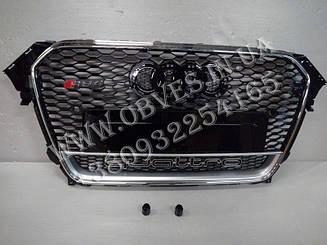 Решітка радіатора Audi A4 B8 2012-2015 стиль RS4 (хром окантовка + Quattro)