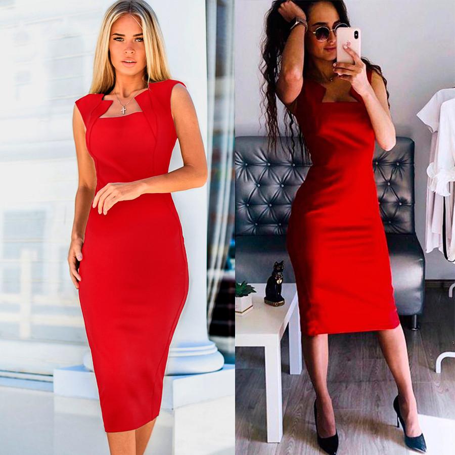 Красное платье-футляр Amely (Код MF-424)