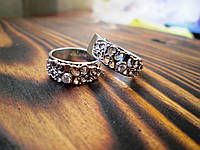 """(Пара) Серебряные обручальные кольца с золотыми вставками """"Кармен"""""""